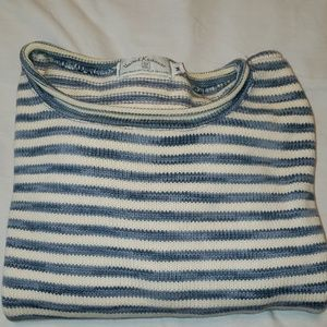 Nautical crop cotton pullover sweater